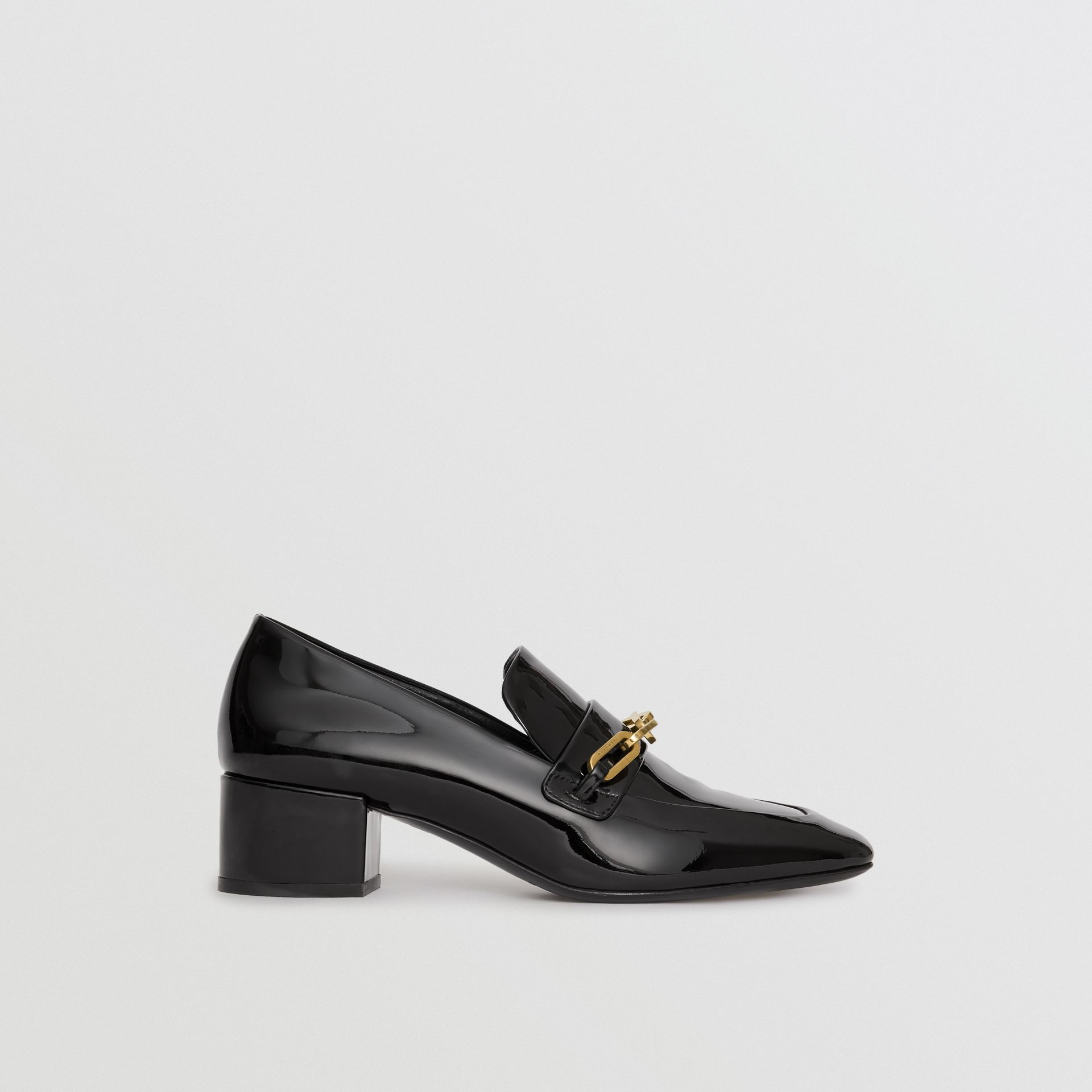Link Detail Patent Leather Block-heel Loafers in Black - Women | Burberry United Kingdom - gallery image 5