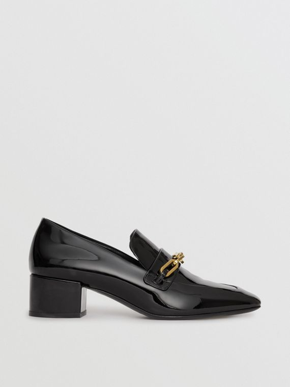 Link Detail Patent Leather Block-heel Loafers in Black