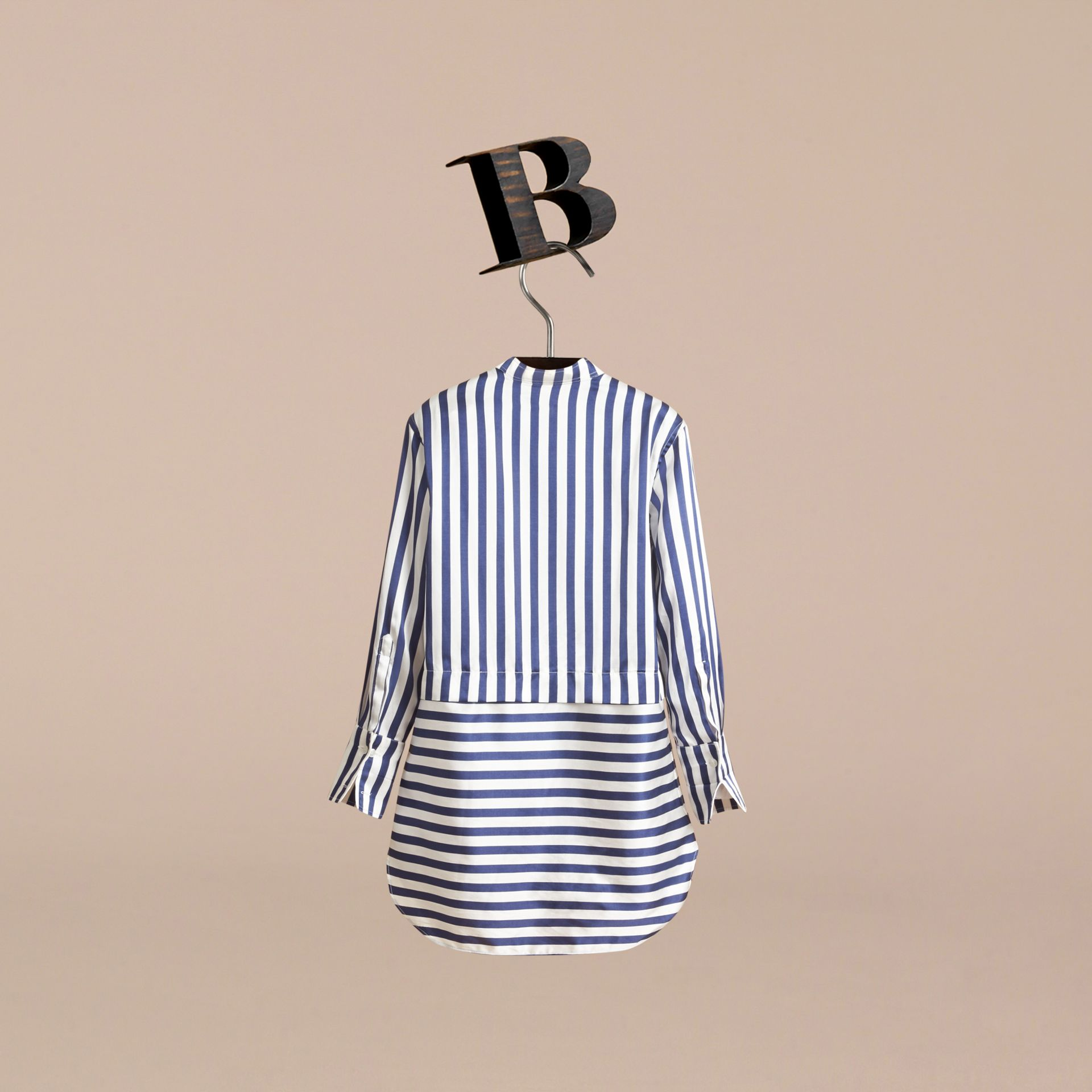 Striped Silk Cotton Shirt Dress - gallery image 4
