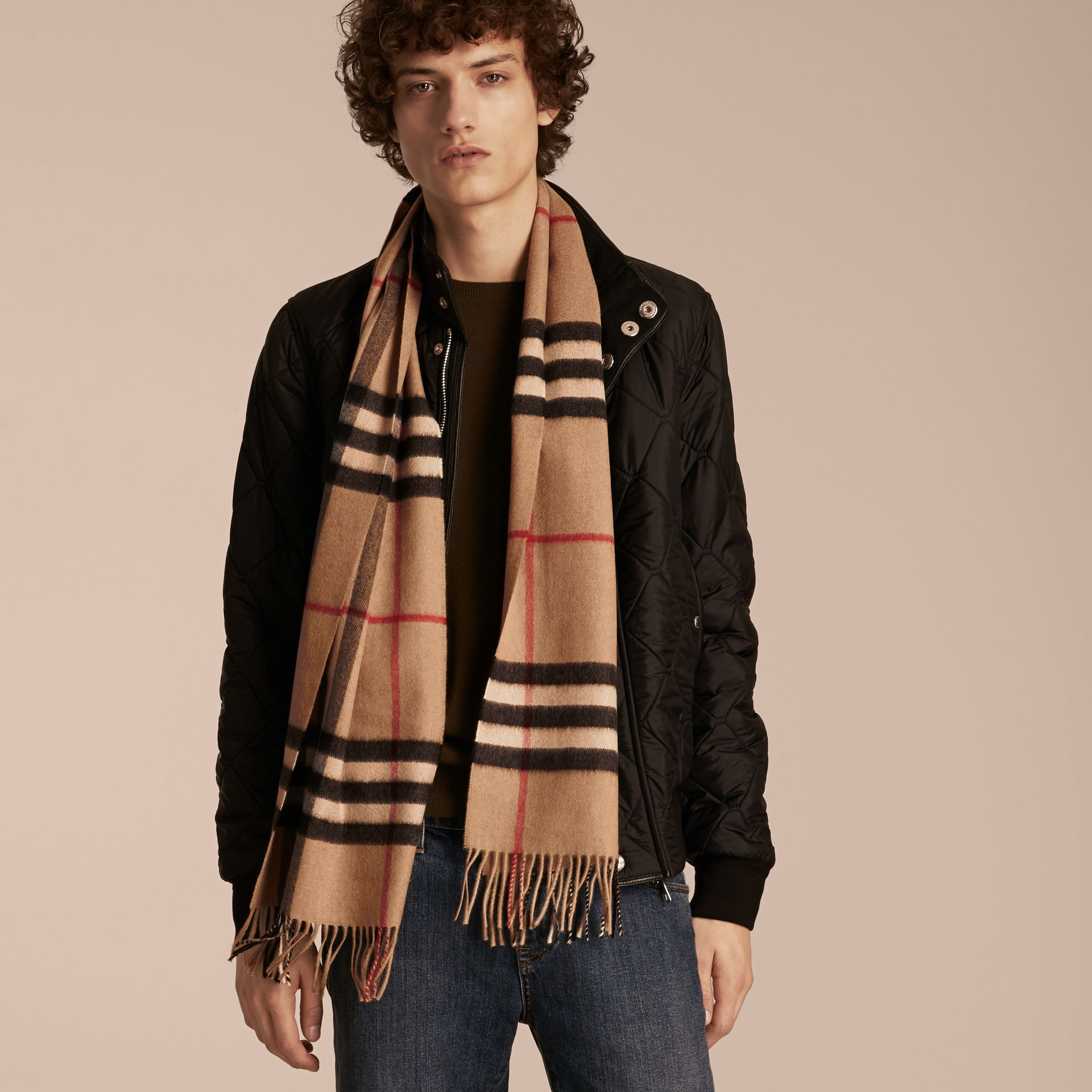 The Classic Cashmere Scarf in Check in Camel - gallery image 4