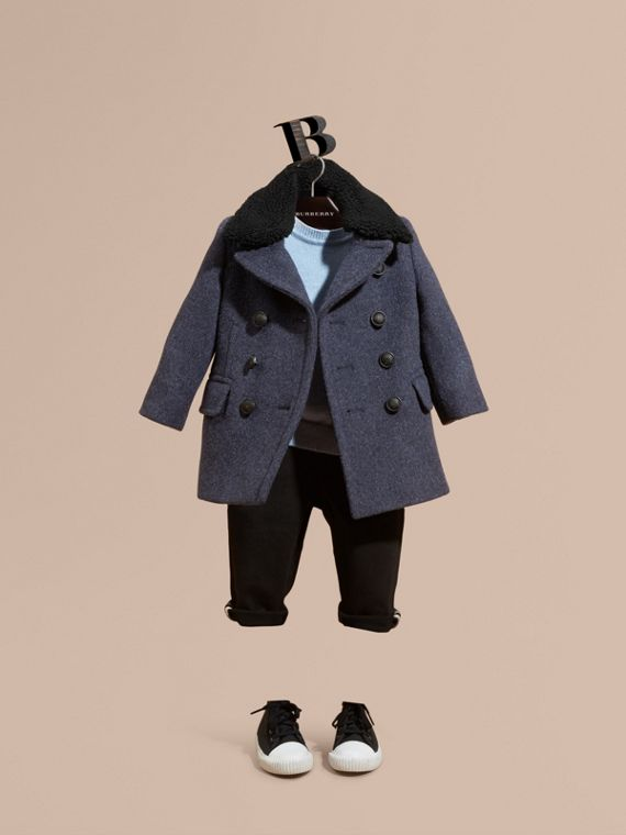Technical Wool Coat with Detachable Textured Collar