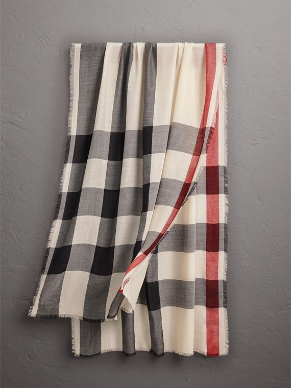 Lightweight Check Cashmere Scarf in Stone