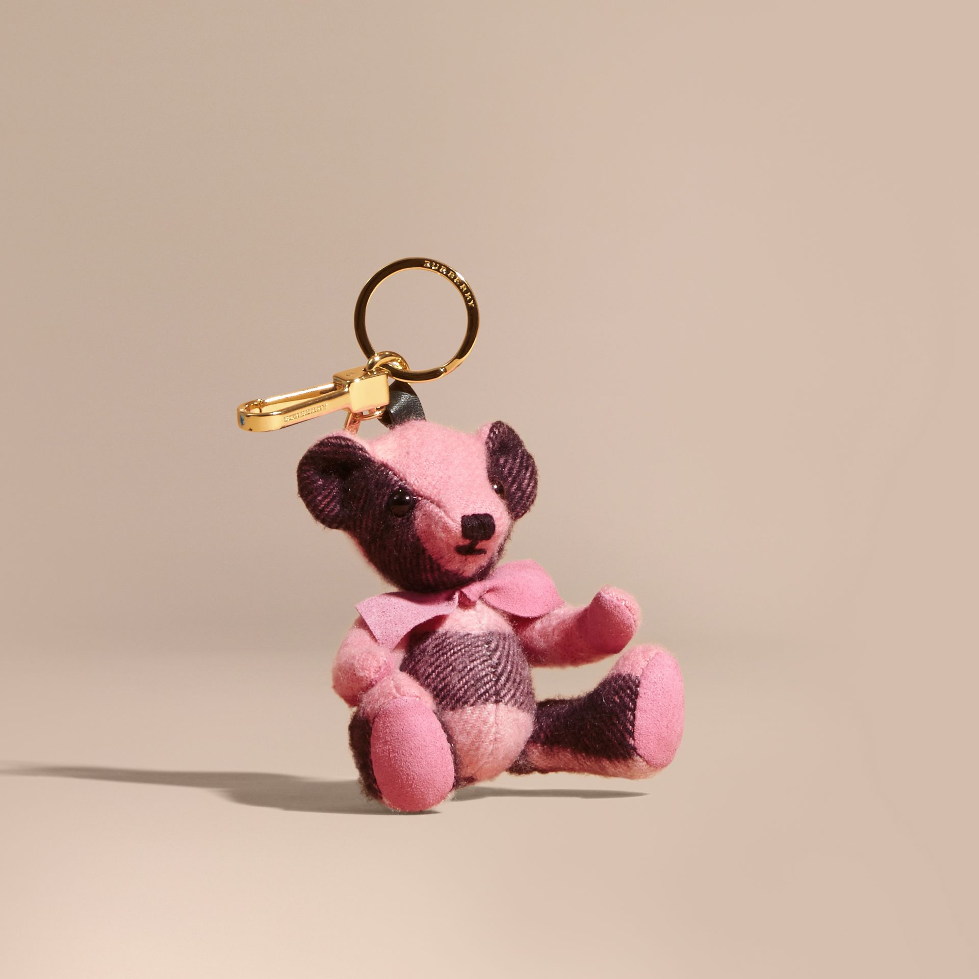 Thomas Bear Charm in Check Cashmere in Rose Pink - gallery image 1