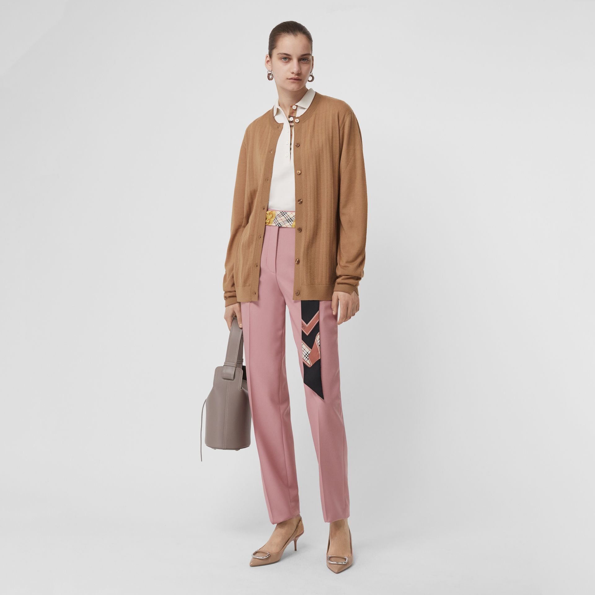 Straight Fit Wool Blend Tailored Trousers in Chalk Pink - Women | Burberry United Kingdom - gallery image 0