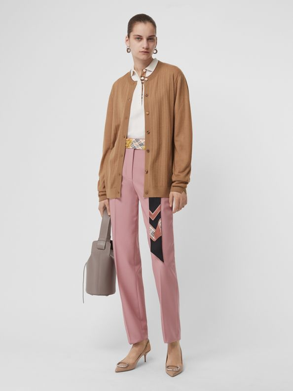 Straight Fit Wool Blend Tailored Trousers in Chalk Pink