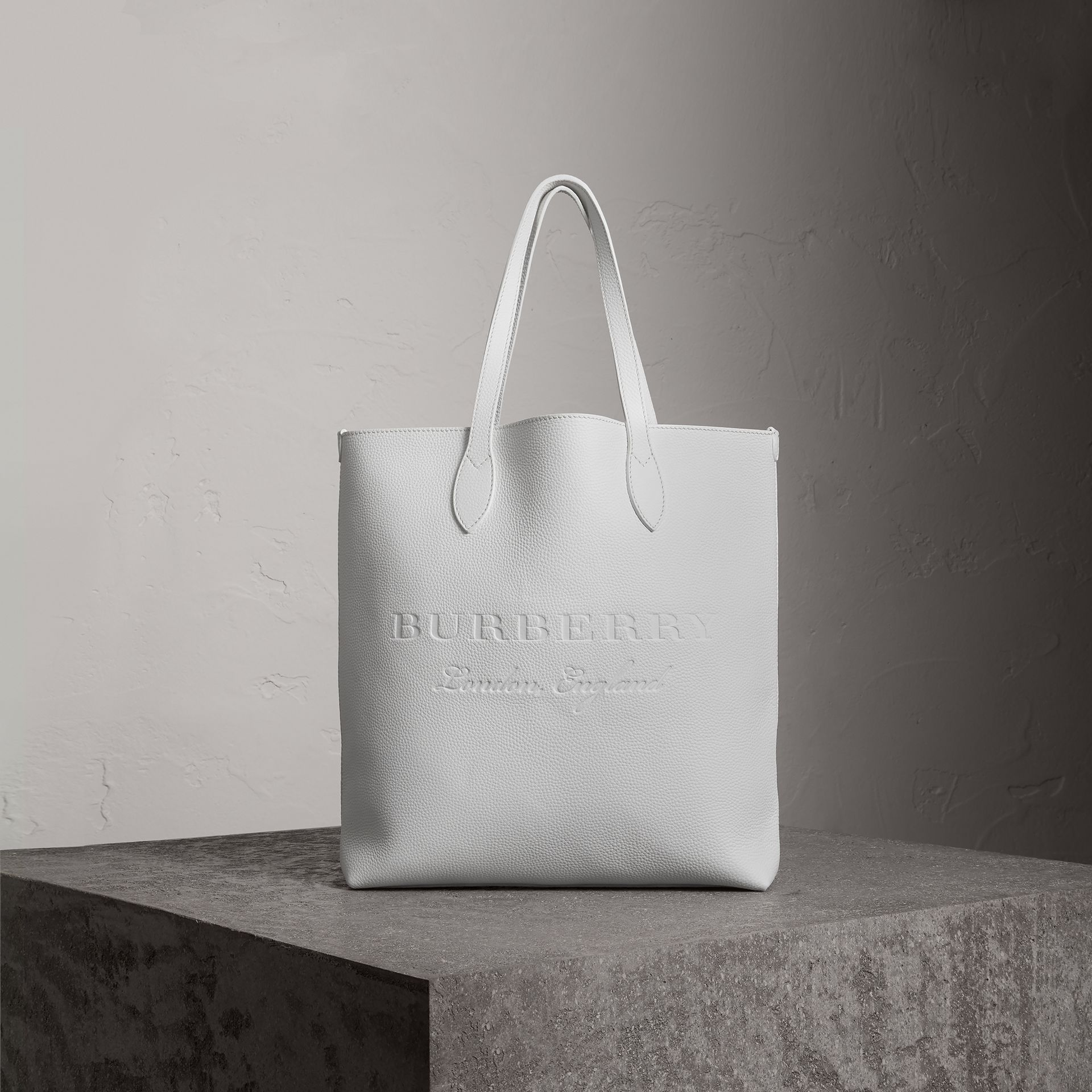 Medium Embossed Leather Tote in Chalk White | Burberry Singapore - gallery image 0