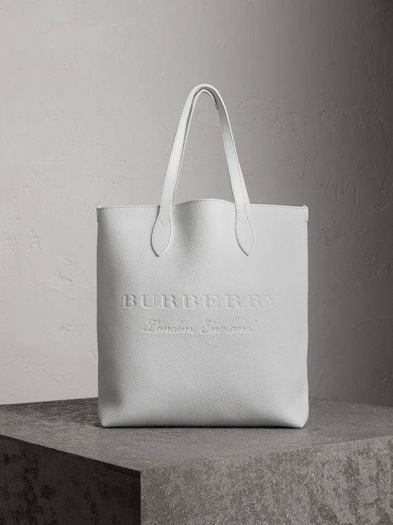 Embossed Leather Tote in Chalk White