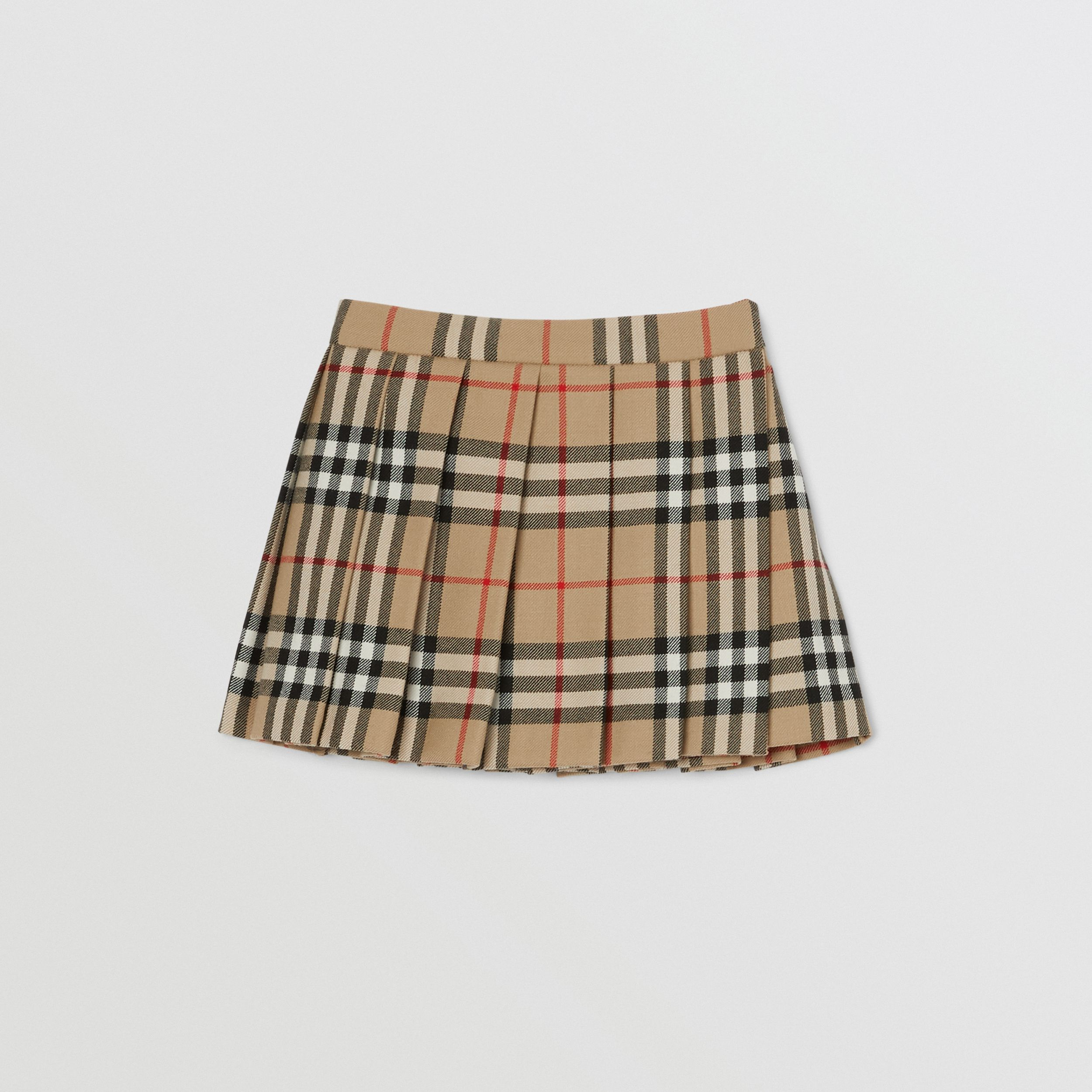 Vintage Check Wool Pleated Wrap Skirt in Archive Beige - Children | Burberry - 1