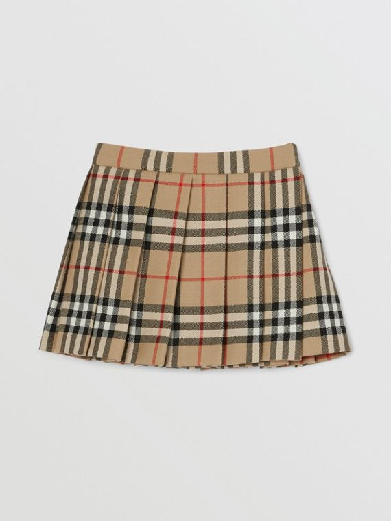 Vintage Check Wool Pleated Wrap Skirt in Archive Beige