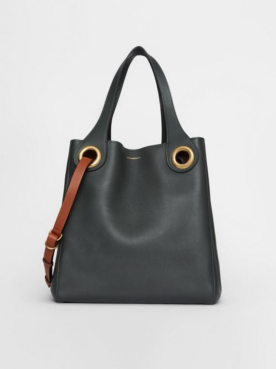 The Leather Grommet Detail Tote in Dark Emerald