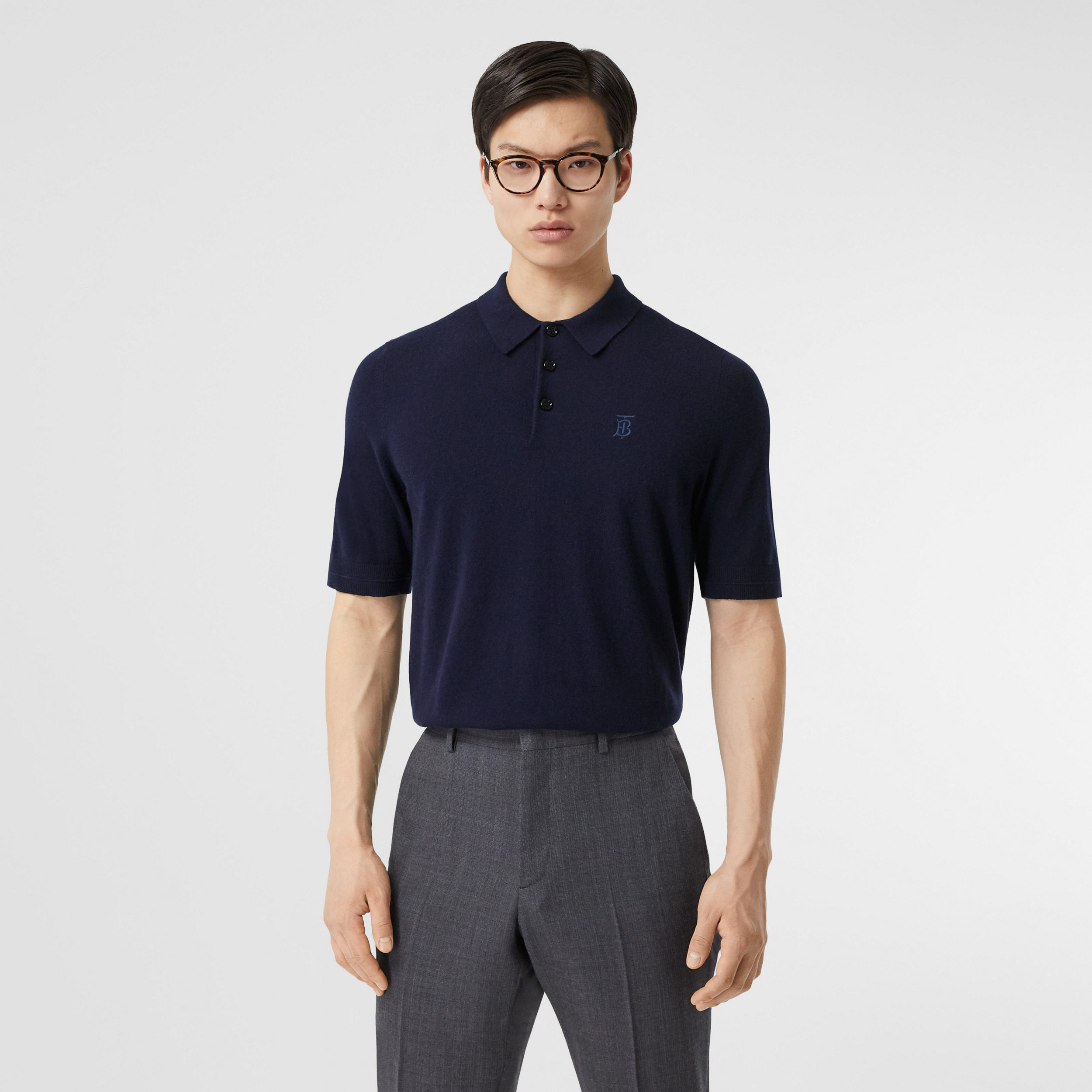 Monogram Motif Cashmere Polo Shirt in Navy - Men | Burberry - 1