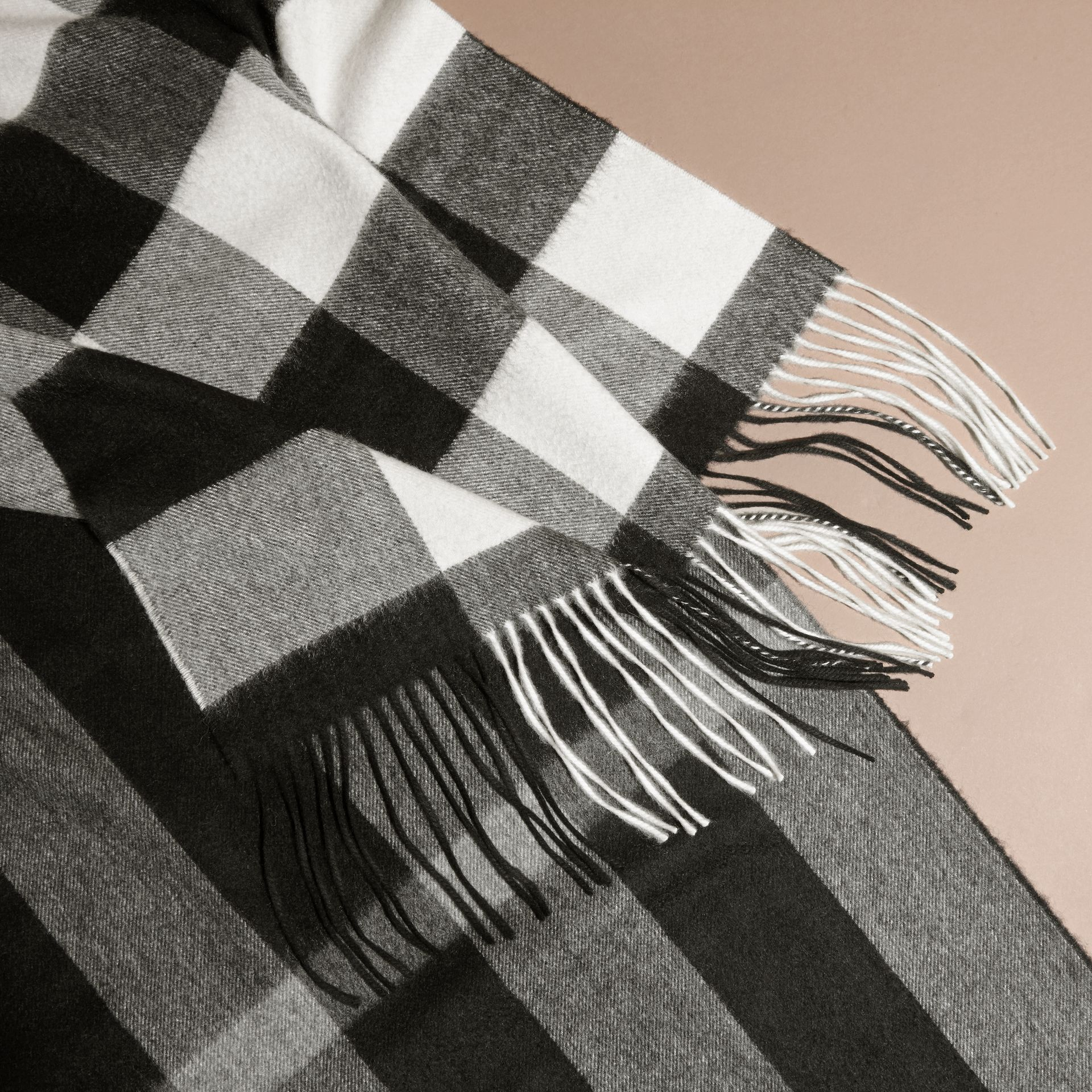 Oversize Check Cashmere Scarf in Black - gallery image 2