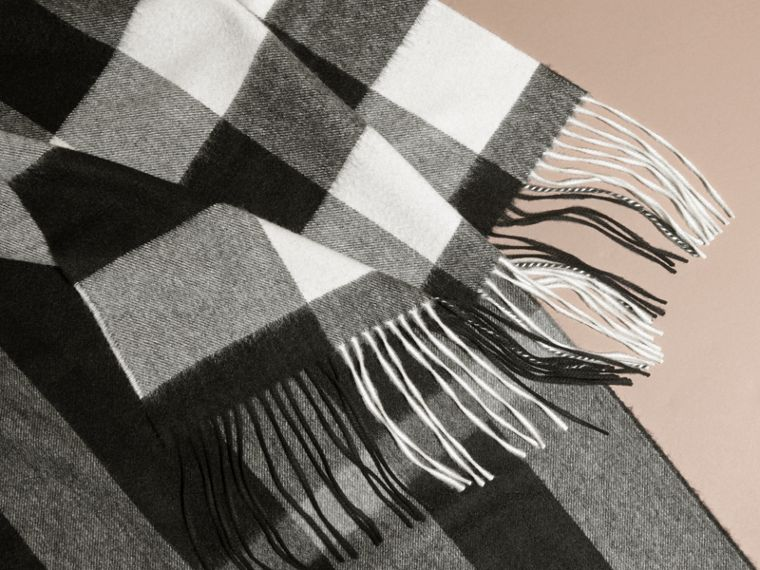 Oversize Check Cashmere Scarf in Black | Burberry - cell image 1