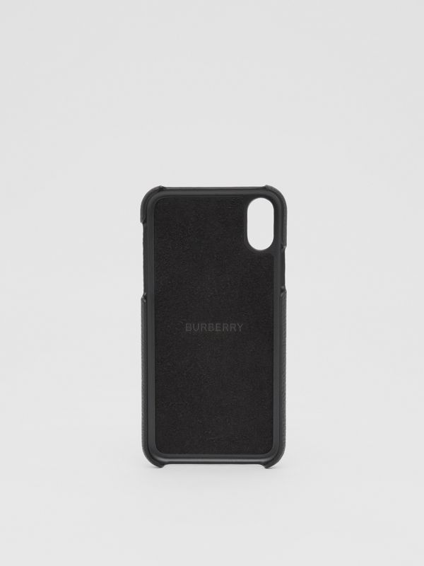 Contrast Logo Graphic Leather iPhone X/XS Case in Black | Burberry - cell image 3