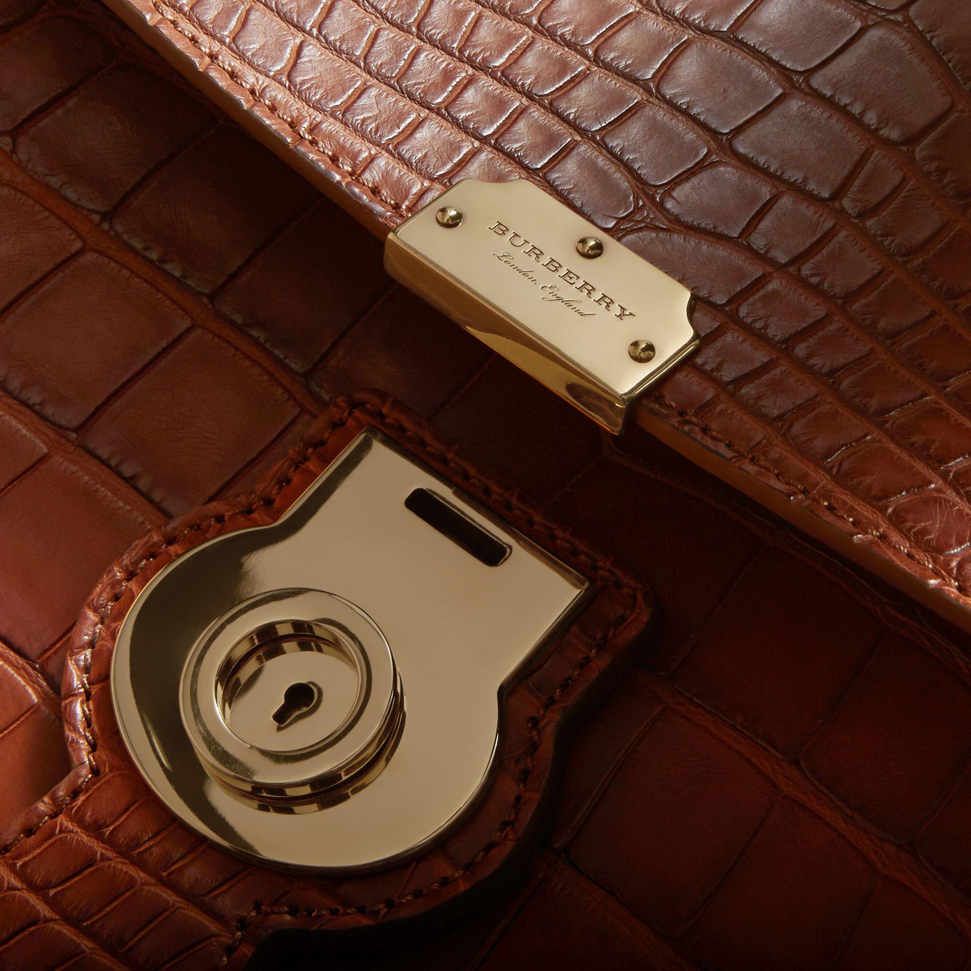 The Medium DK88 Top Handle Bag in Alligator in Tan - Women | Burberry - gallery image 1