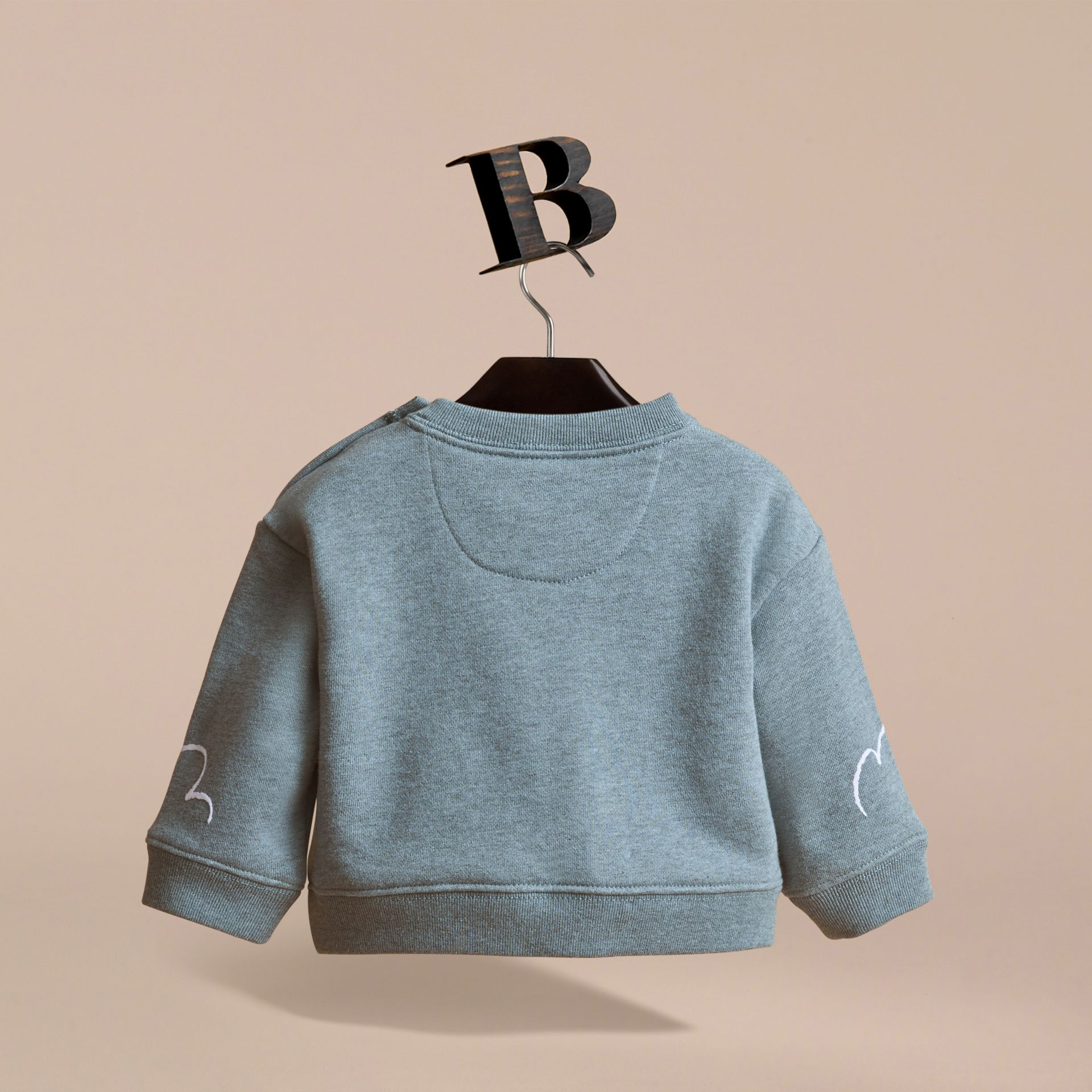 Head in the Clouds Print Cotton Sweatshirt in Powder Blue | Burberry - gallery image 3