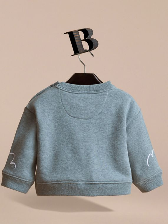 Head in the Clouds Print Cotton Sweatshirt in Powder Blue | Burberry - cell image 3