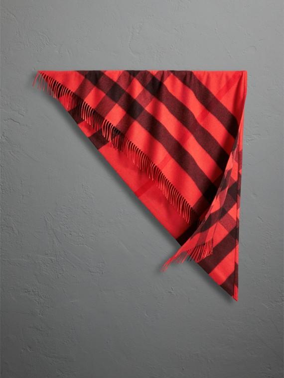 Bandana Burberry en cachemire à motif check (Rouge Orangé)