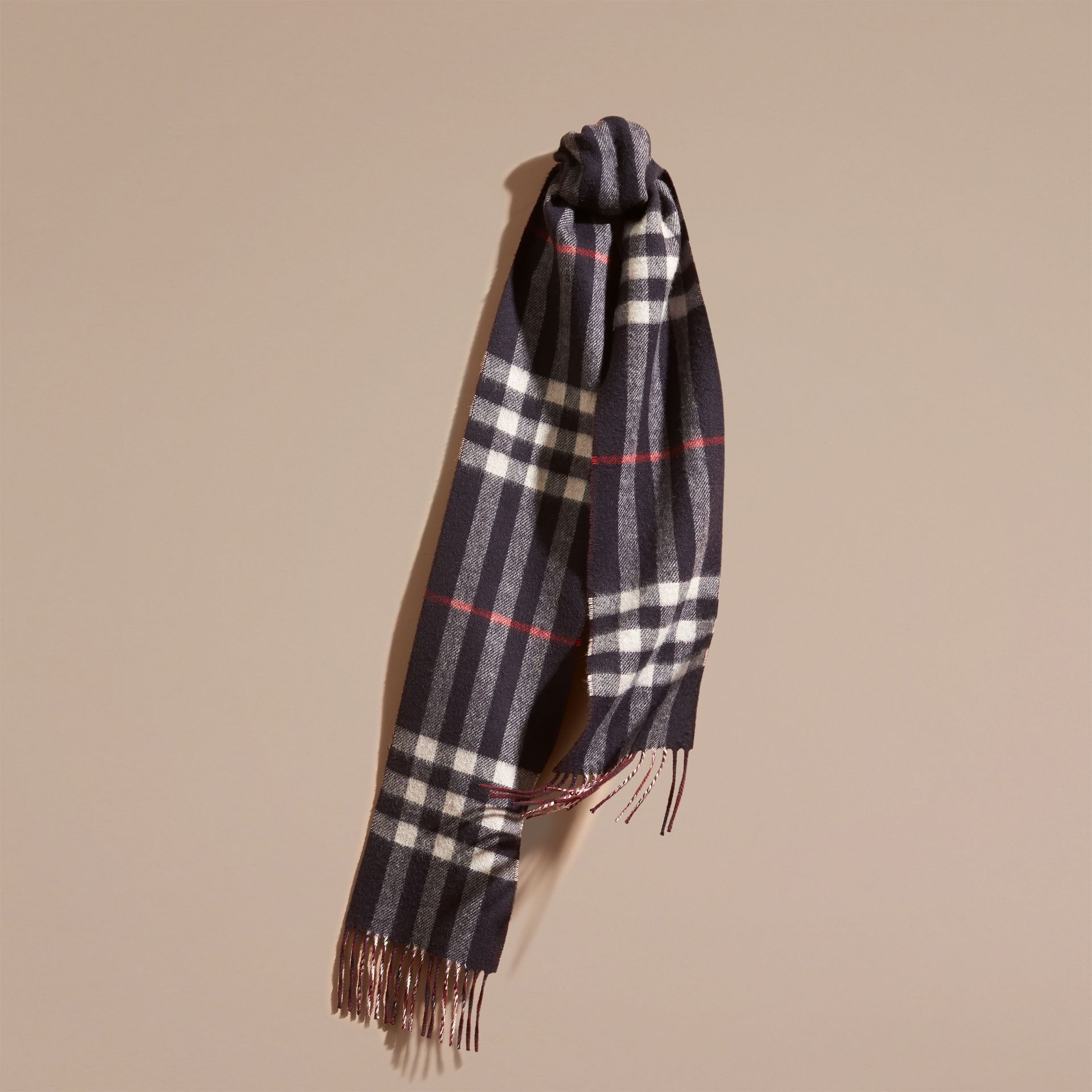 Navy/claret The Slim Reversible Cashmere Scarf in Check Navy/claret - gallery image 1