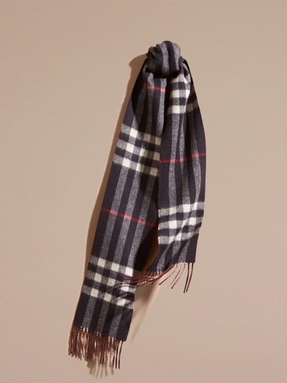 Sciarpa double face sottile in cashmere con motivo check Navy/rosso Violetto