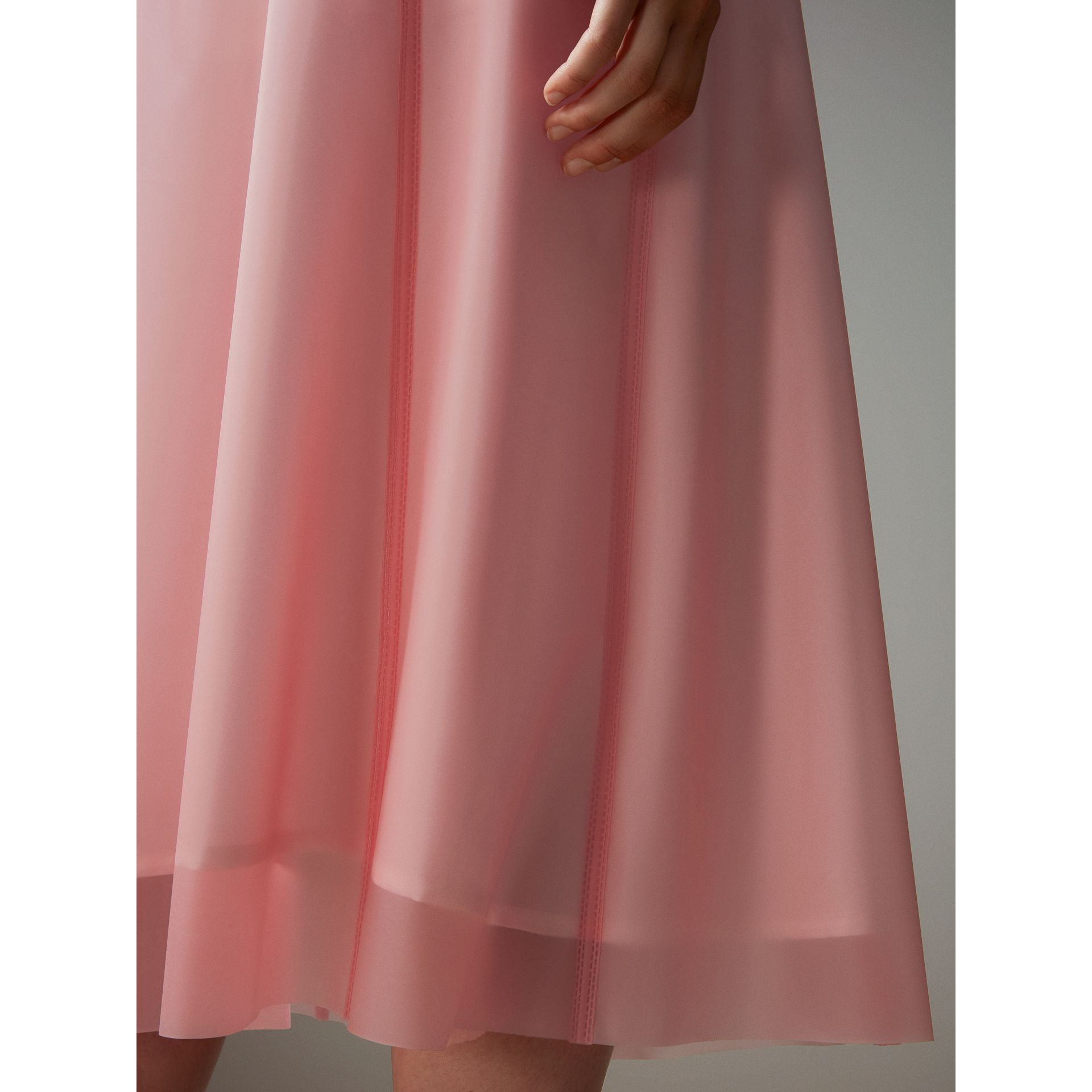 Silk-lined Plastic A-line Skirt in Rose Pink - Women | Burberry Singapore - gallery image 5