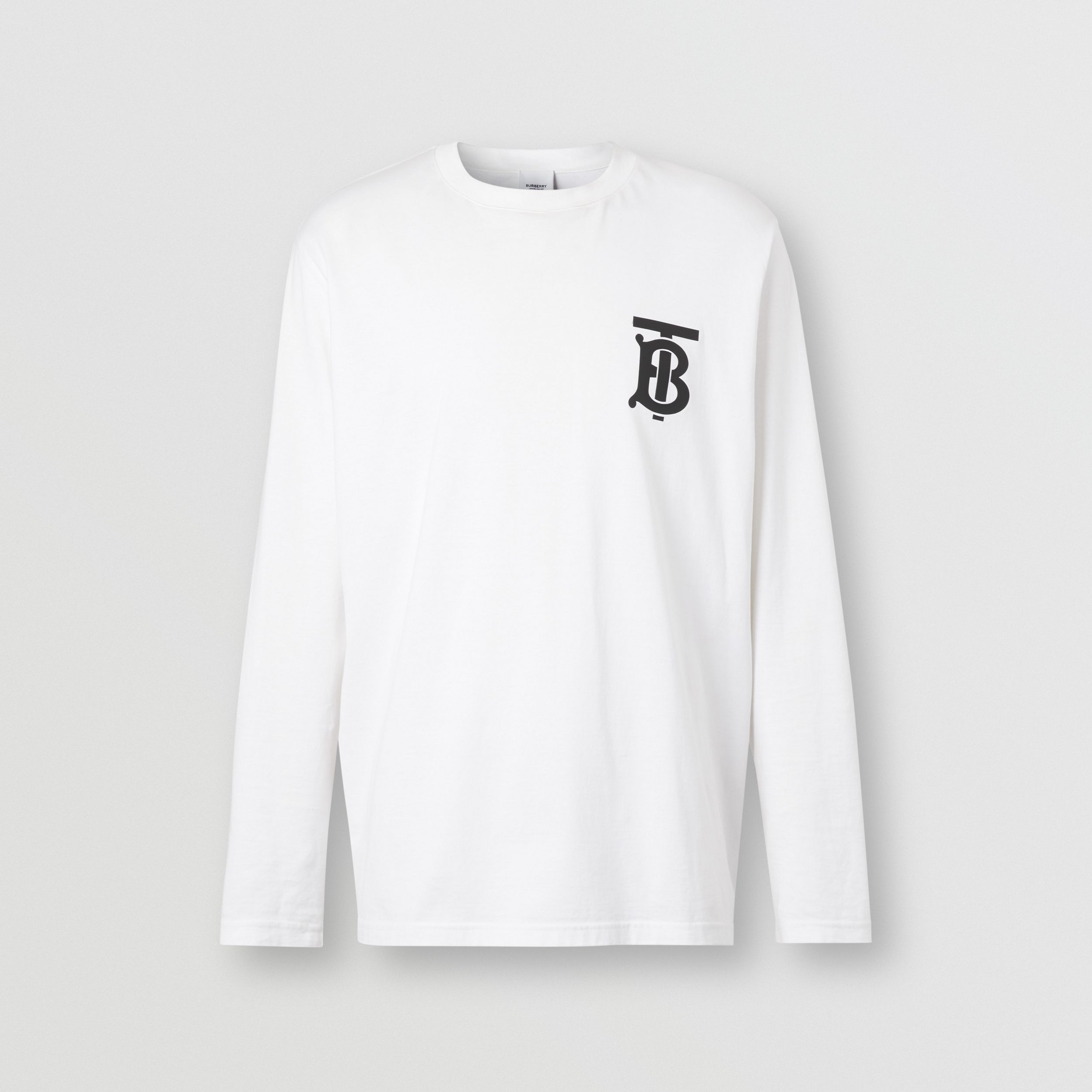 Long-sleeve Monogram Motif Cotton Top in White - Men | Burberry - 4