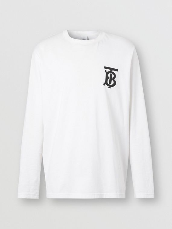Long-sleeve Monogram Motif Cotton Top in White