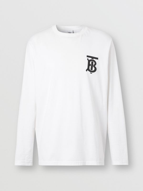 Long-sleeve Monogram Motif Cotton Top in White - Men | Burberry Hong Kong S.A.R - cell image 3