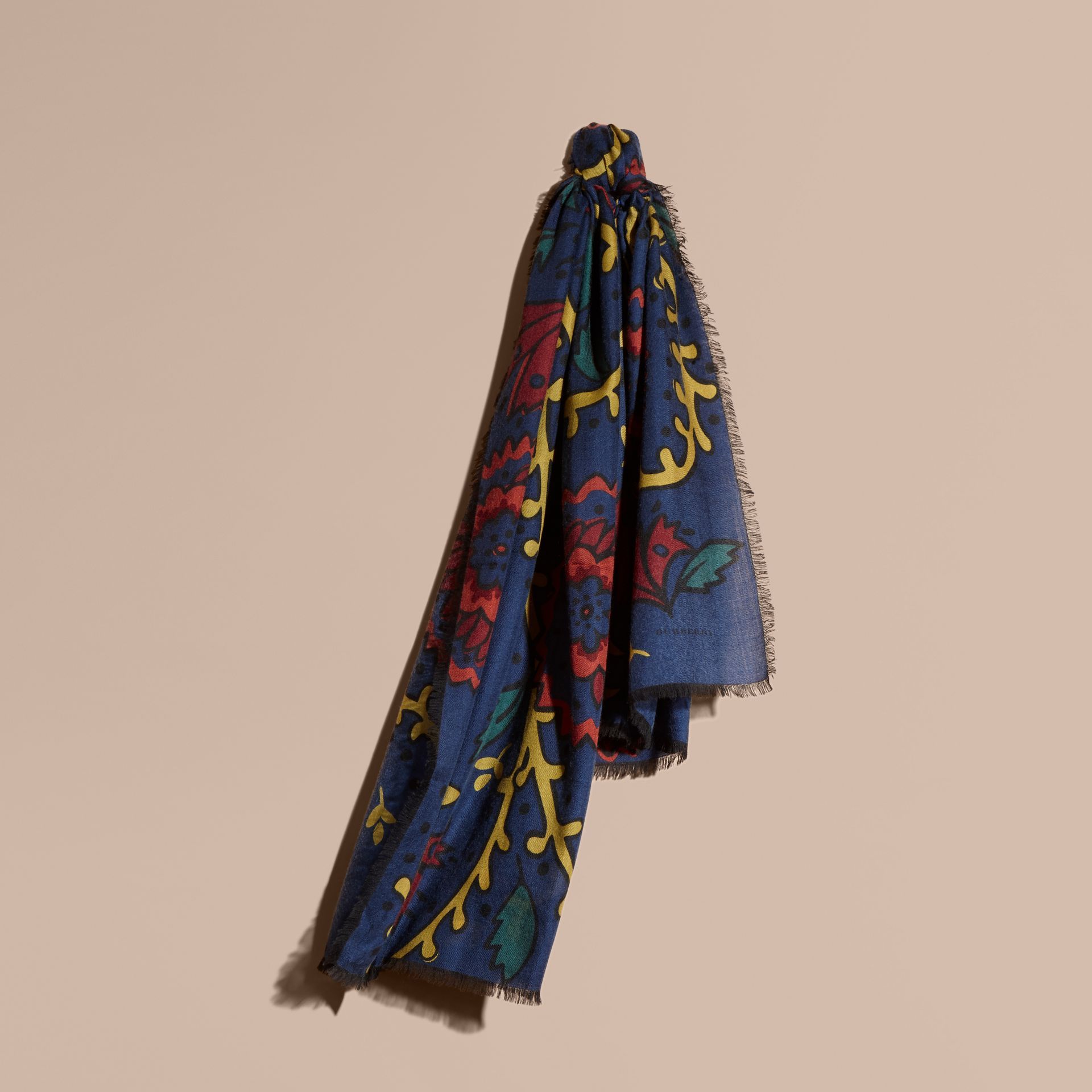 Navy Floral Print Cashmere Scarf - gallery image 1