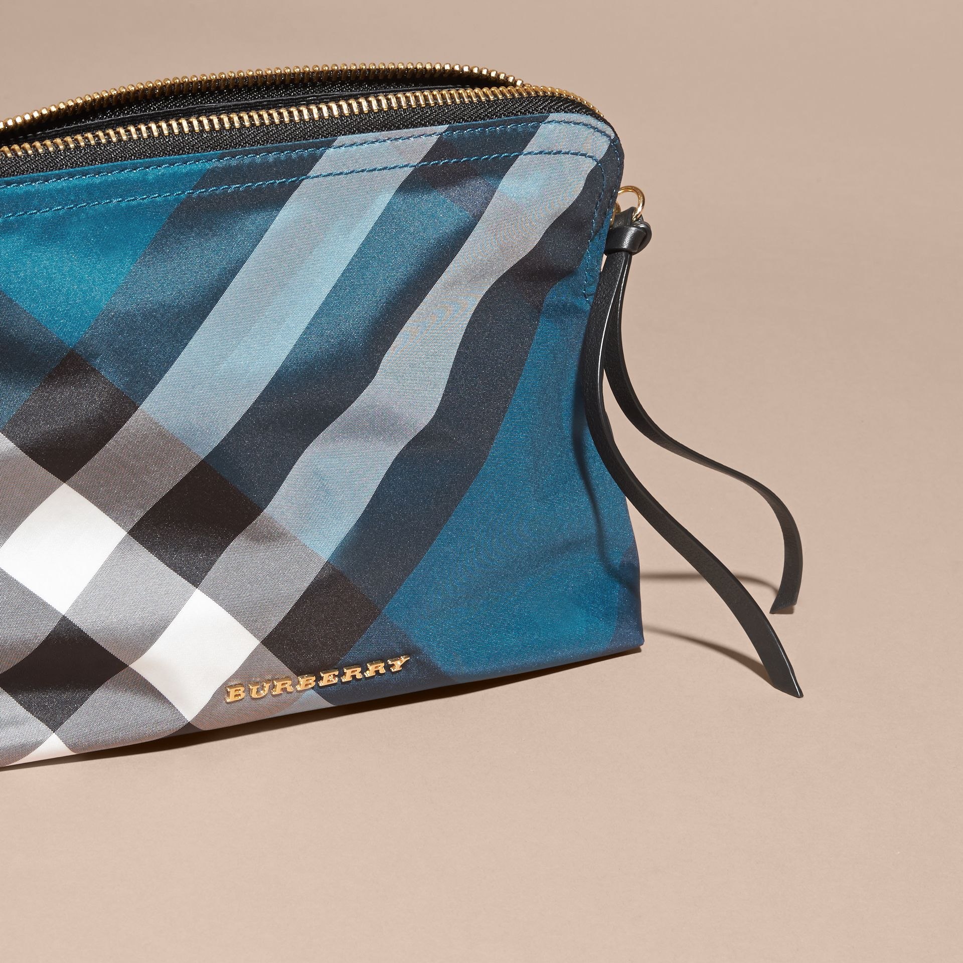 Large Zip-top Check Pouch in Marine Blue - Women | Burberry - gallery image 3
