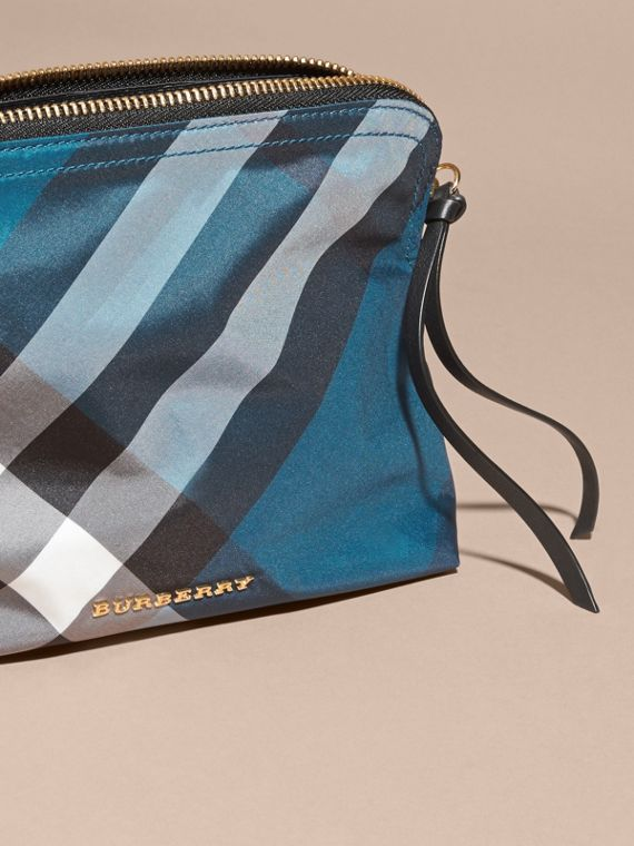 Large Zip-top Check Pouch in Marine Blue - Women | Burberry Australia - cell image 2