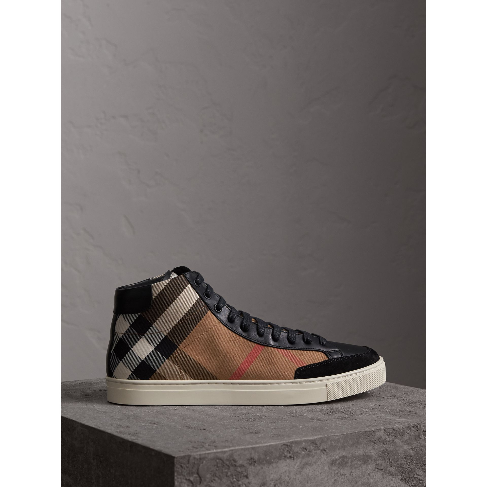 House Check Cotton and Leather High-top Trainers in Black - Men | Burberry - gallery image 4