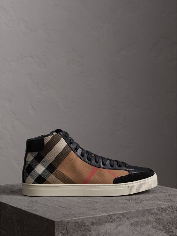 House Check Cotton and Leather High-top Trainers in Black - Men | Burberry - cell image 3