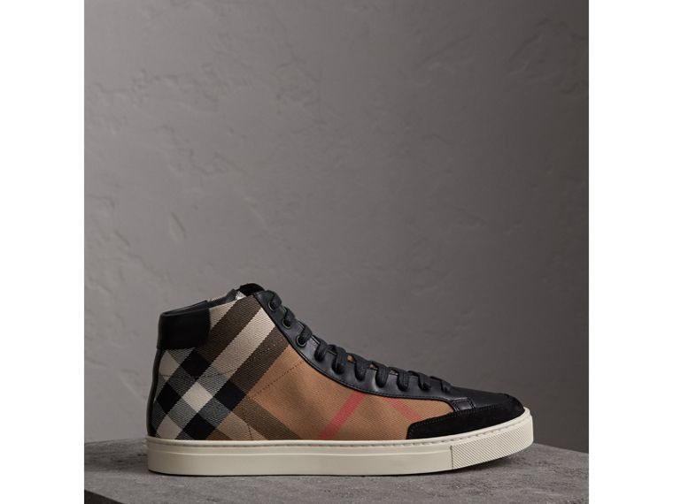 House Check Cotton and Leather High-top Trainers in Black - Men | Burberry - cell image 4