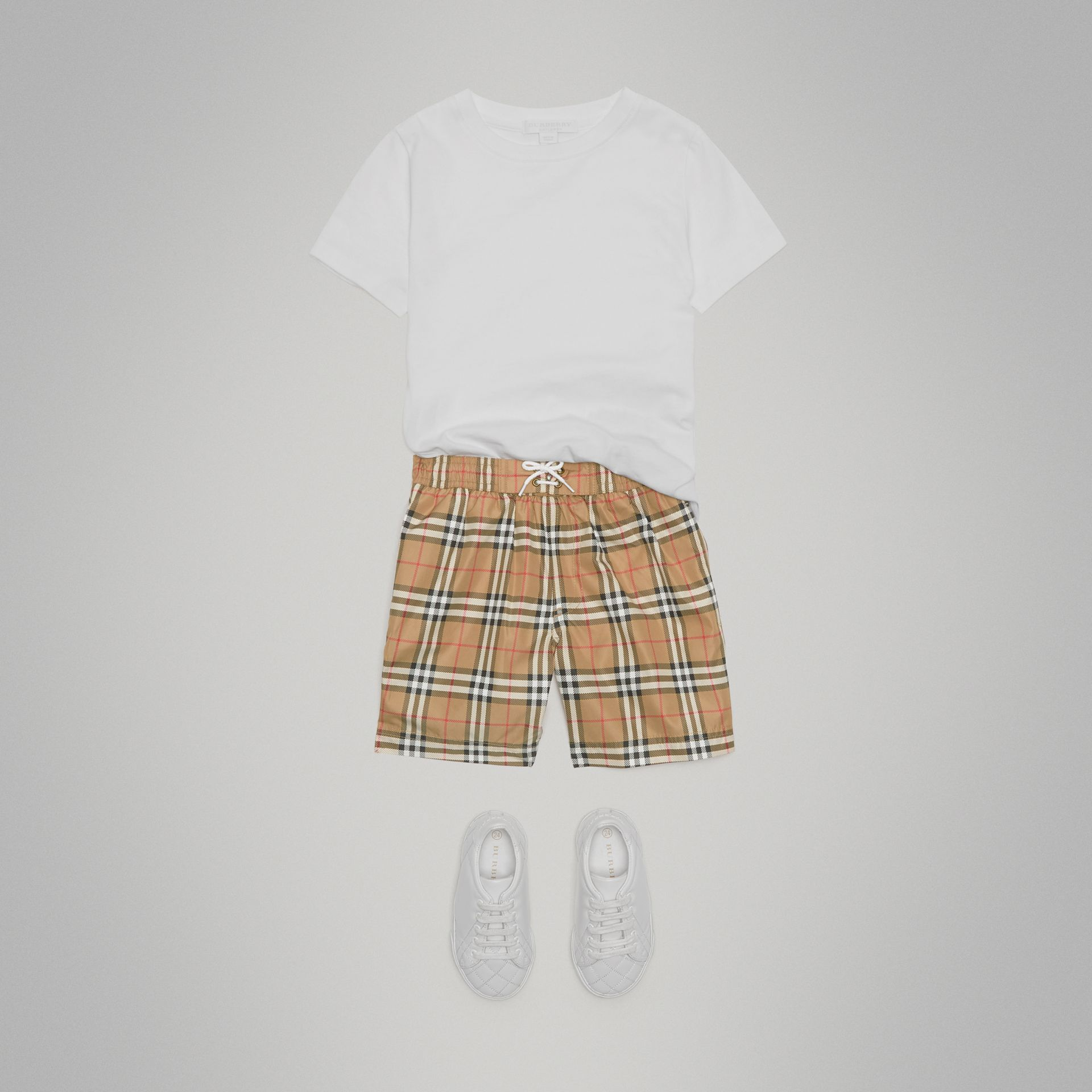 Vintage Check Swim Shorts in Camel - Boy | Burberry Canada - gallery image 0