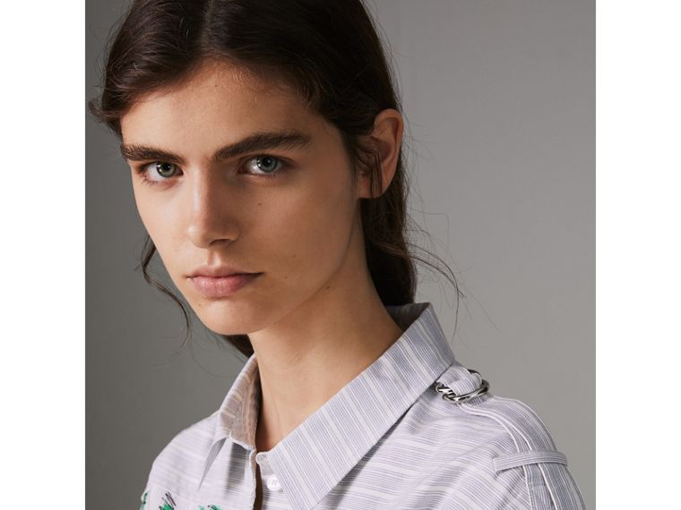 Scribble Stripe Cotton Shirt Dress in Bright Navy - Women | Burberry Australia - cell image 4