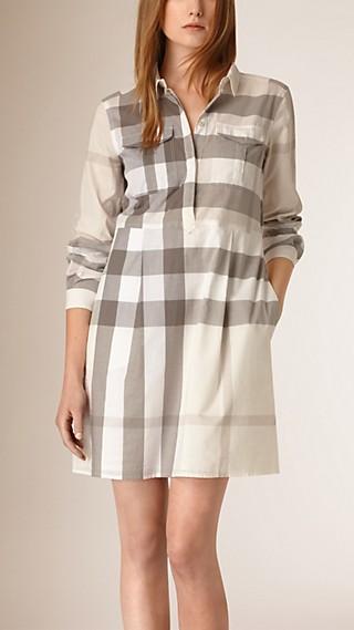 Check Cotton Shirt Dress