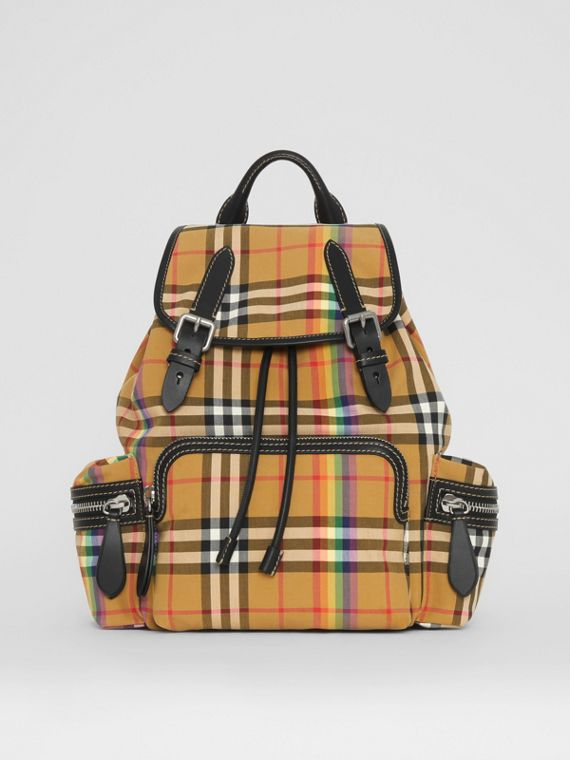 The Medium Rucksack in Rainbow Vintage Check in Antique Yellow