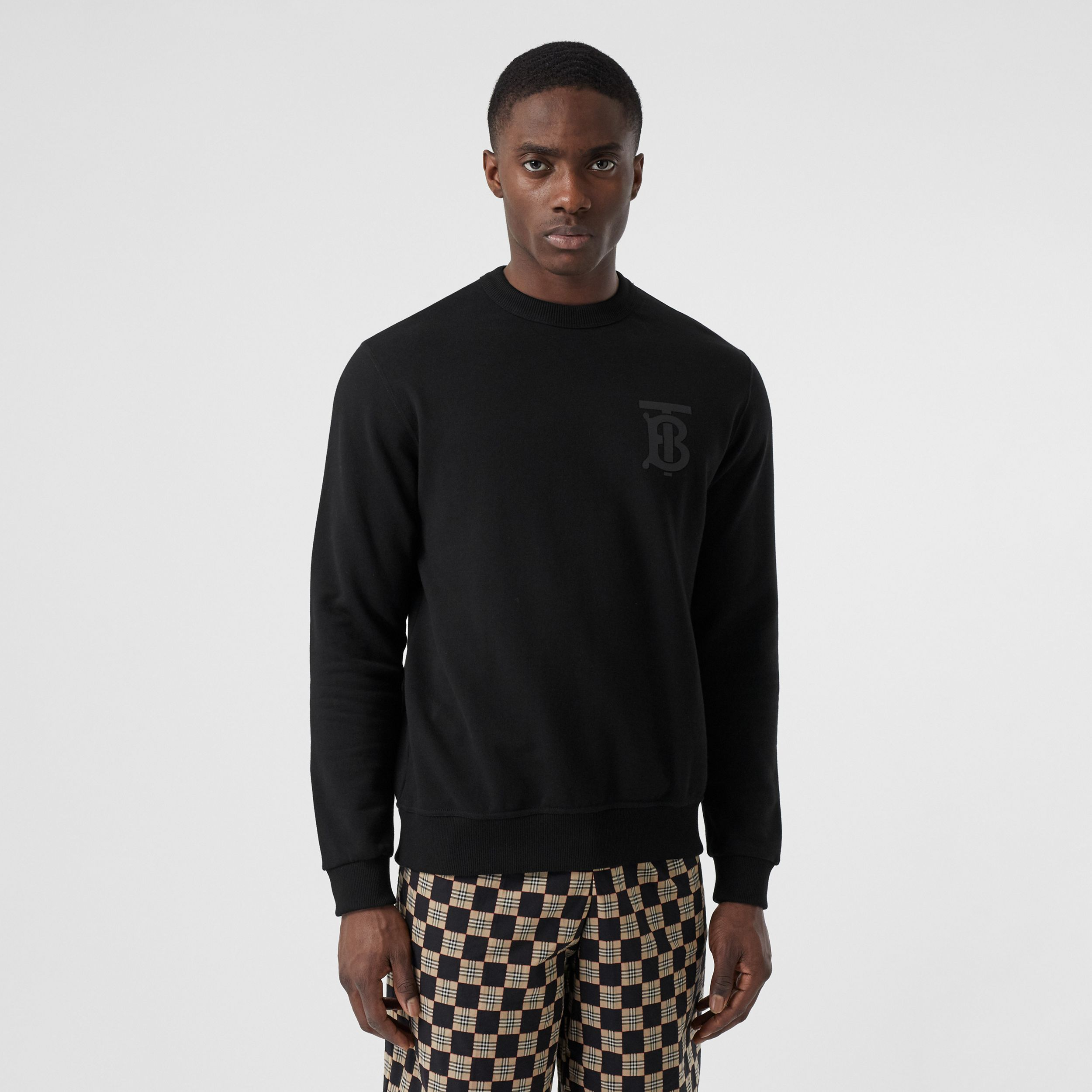 Monogram Motif Cotton Sweatshirt in Black - Men | Burberry - 1