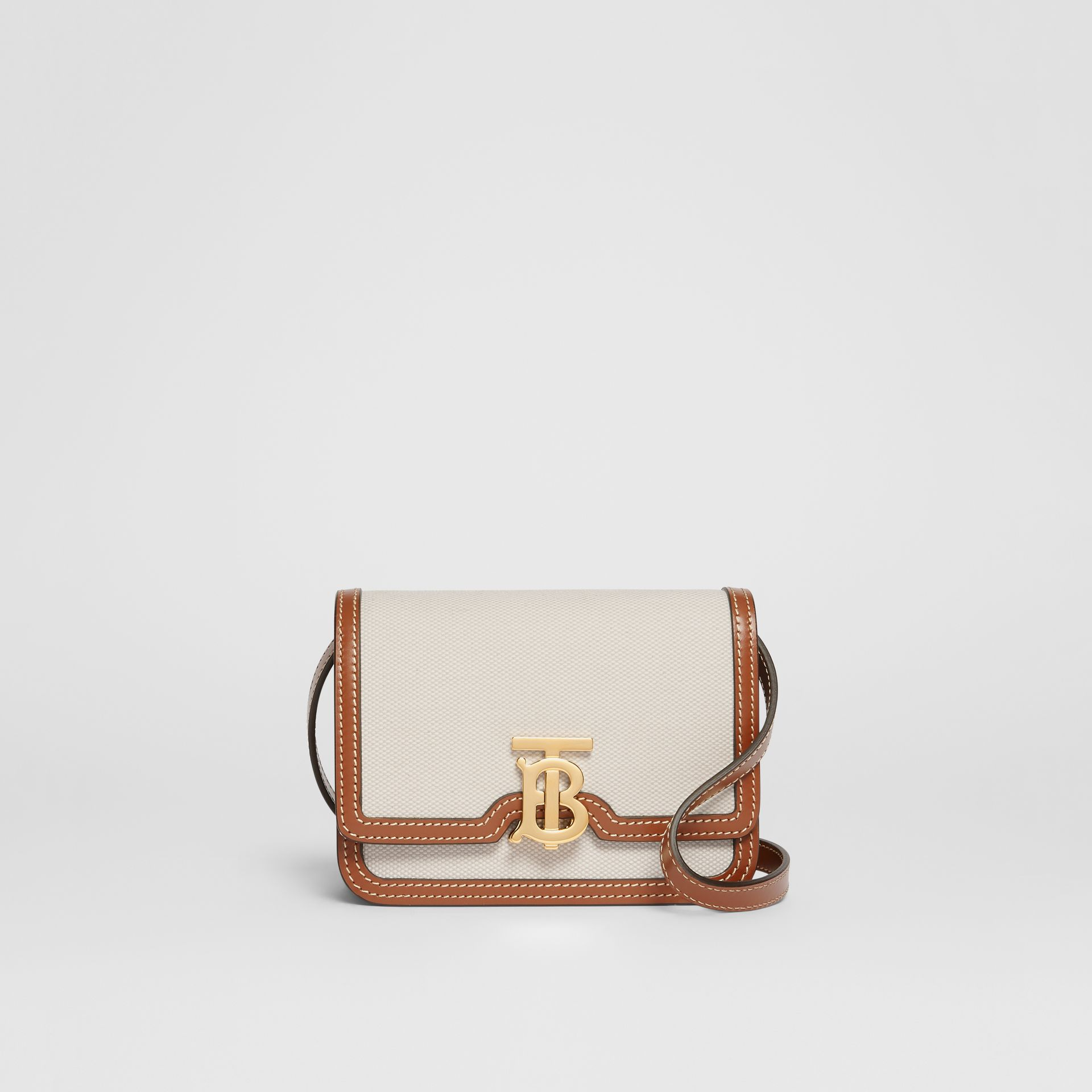 Mini Two-tone Canvas and Leather TB Bag in Natural/malt Brown - Women | Burberry Hong Kong S.A.R. - gallery image 0