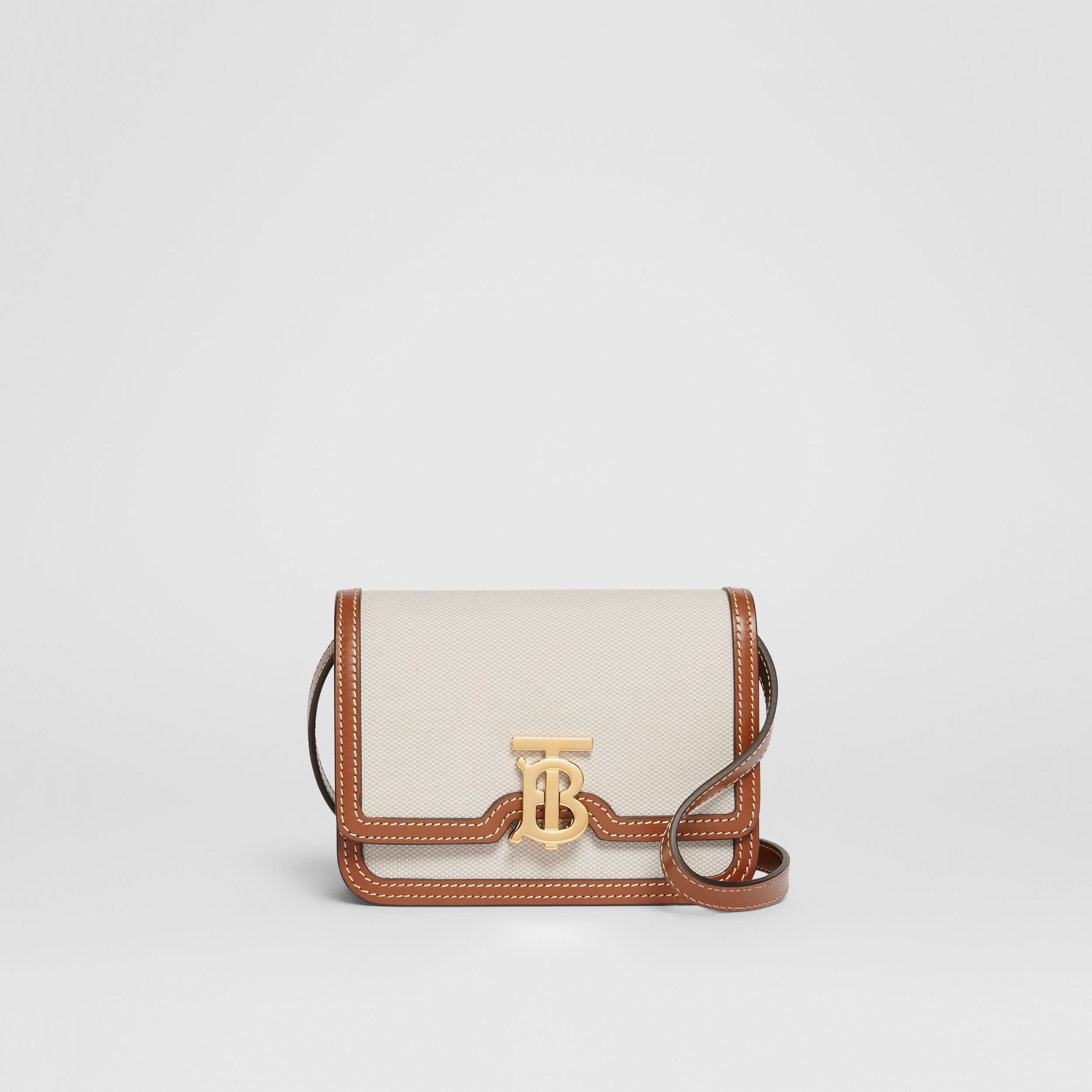Mini Two-tone Canvas and Leather TB Bag in Natural/malt Brown - Women | Burberry - 1