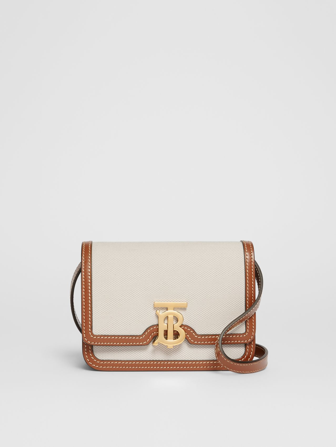 Mini Two-tone Canvas and Leather TB Bag (Natural/malt Brown)