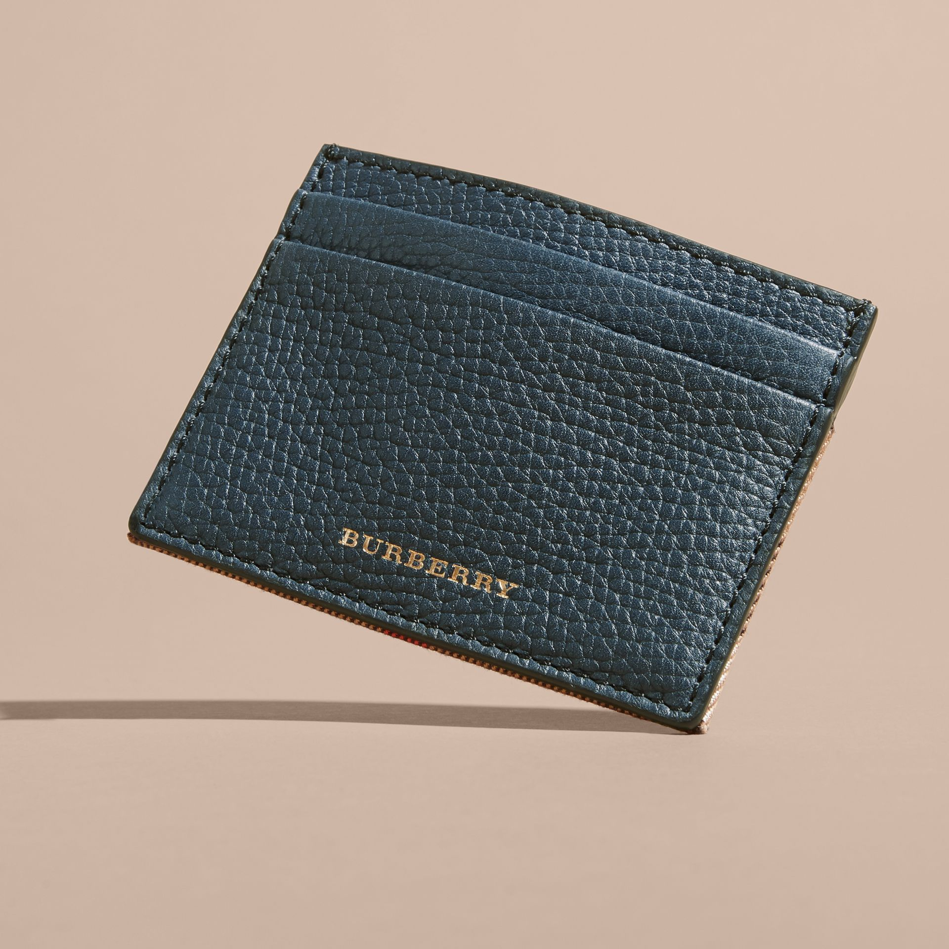 House Check and Grainy Leather Card Case Storm Blue - gallery image 6