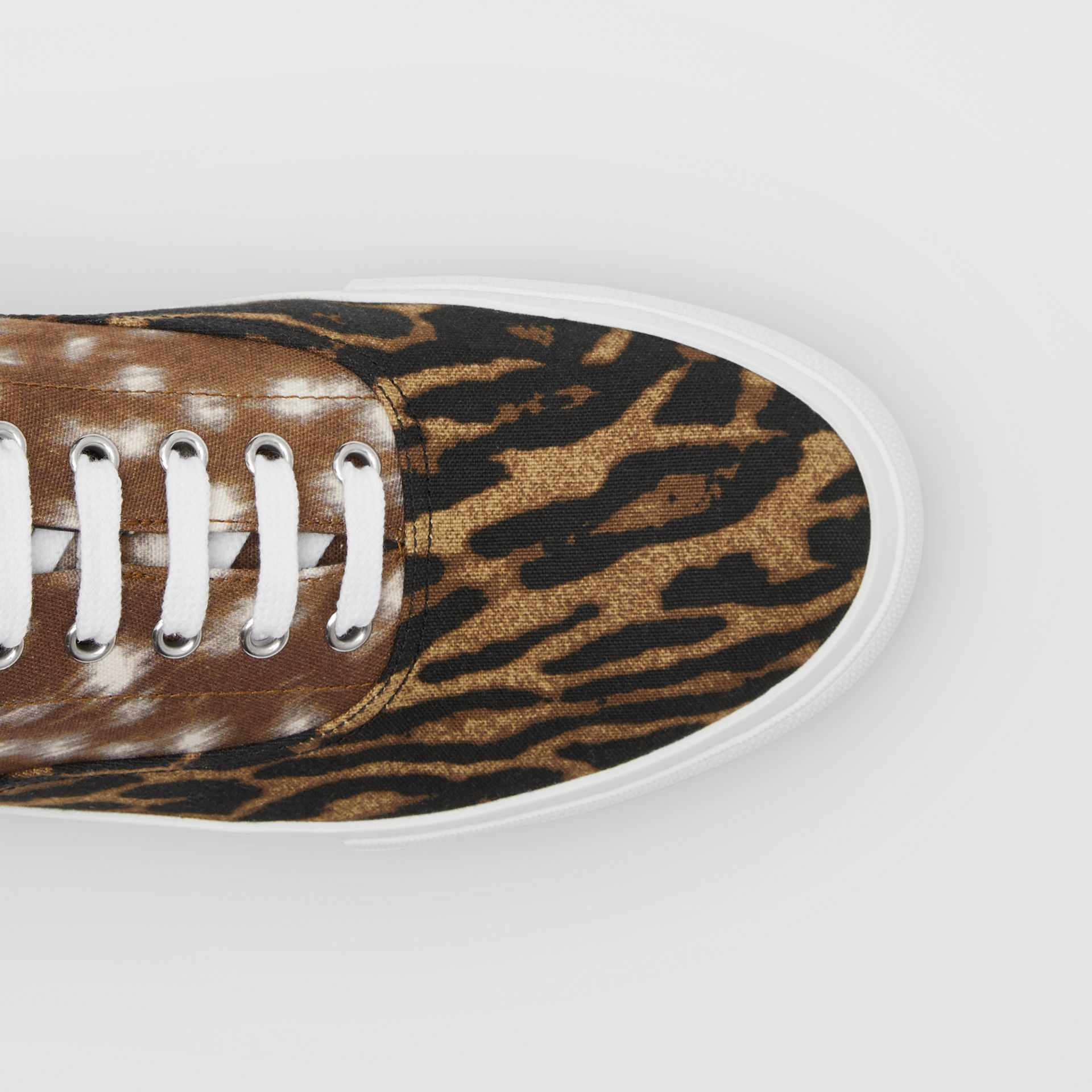 Animal Print Cotton Canvas Sneakers in Honey - Men | Burberry United Kingdom - gallery image 1