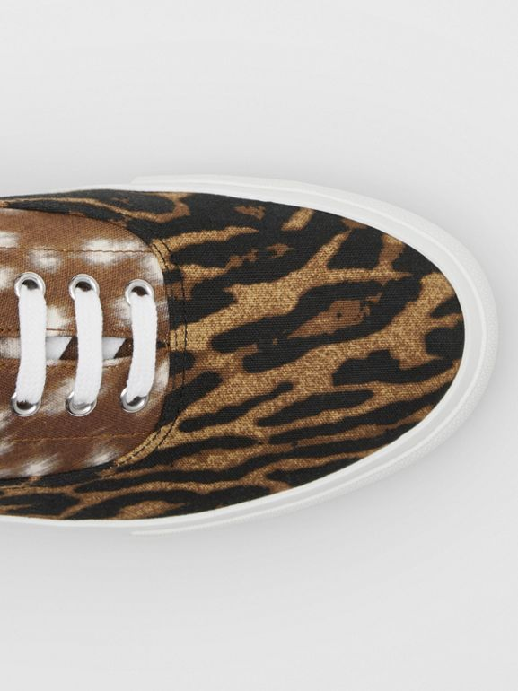 Animal Print Cotton Canvas Sneakers in Honey - Men | Burberry United Kingdom - cell image 1