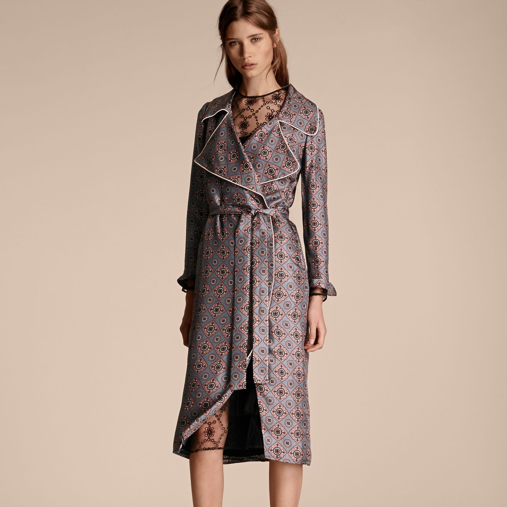 Light steel blue Printed Silk Wrap Trench Dress with Piping - gallery image 6