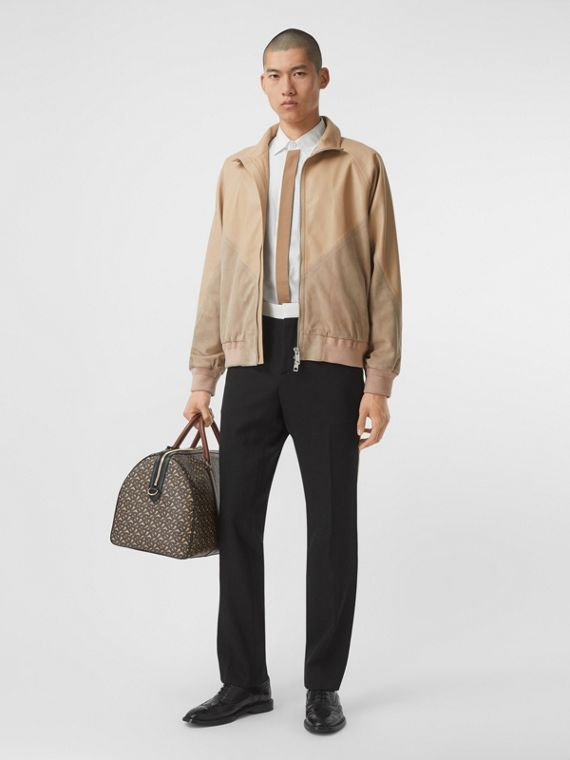 Lambskin and Suede Harrington Jacket in Pale Stone