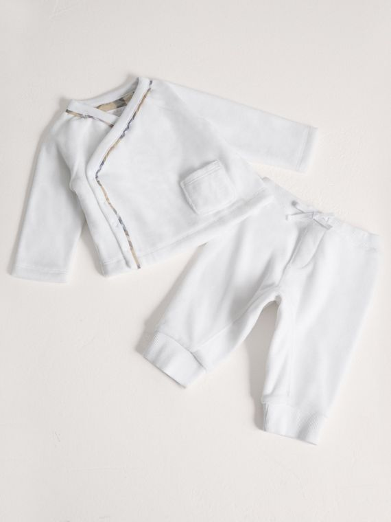 Stretch Jersey Two-piece Baby Gift Set in White