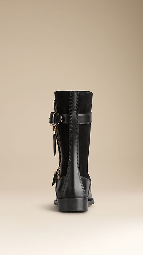 Black Shearling-Lined Leather Biker Boots - Image 2