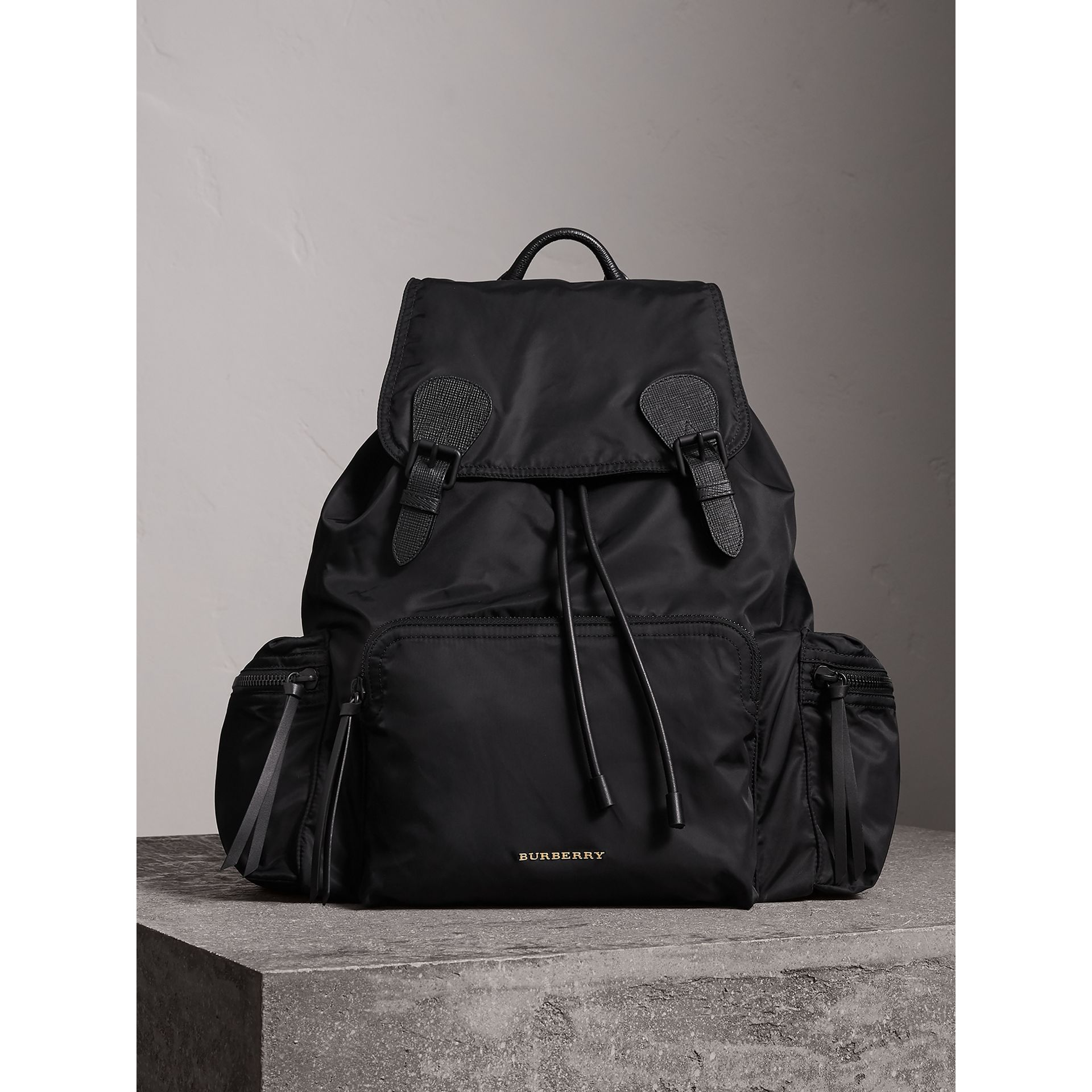 The Extra Large Rucksack in Technical Nylon and Leather in Black - Men | Burberry Canada - gallery image 1